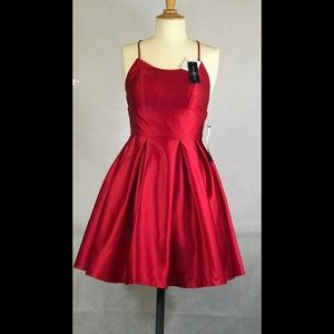 Betsy & Adam Fancy Satin Fit Flare Red women Dress